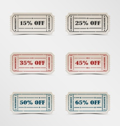 Collection discount vintage ticket vector image