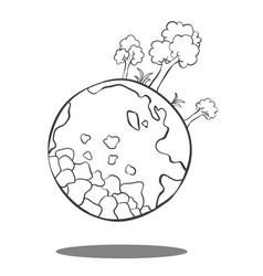 Hand draw world with forest vector