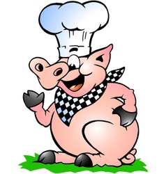 Hand-drawn of an Chef Pig standing and pointing vector image vector image