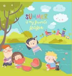 kids eating watermelon summer picnic by the river vector image vector image
