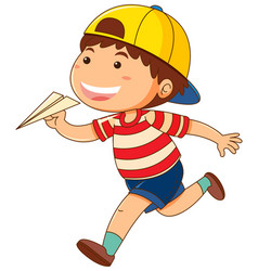 Little boy with paper airplane vector