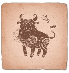 Ox Chinese Zodiac Sign Horoscope Vintage Card vector image