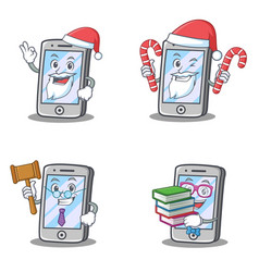 Set of iphone character with judge santa candy vector