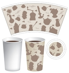 Template paper cup for coffee and tea vector image vector image