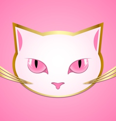 White cat head vector image vector image