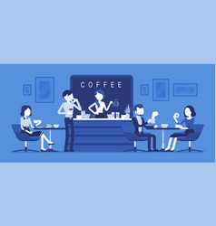 cafe shop and people relaxing vector image