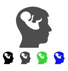 embryo mind head flat icon vector image vector image