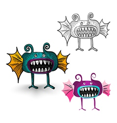 Halloween monsters isolated spooky creatures set vector image