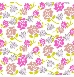 rose flowers pink and green floral dark pattern vector image vector image