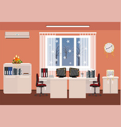 christmas decor office room interior holiday vector image vector image