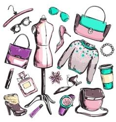 Fashion Sketch Elements Set vector image