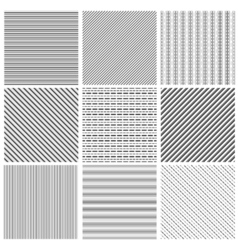 Geometric line pattern set Parallel streep black vector image