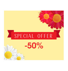 special offer banner with realistic red and white vector image vector image