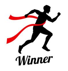 winner runner crossing finish line sports vector image