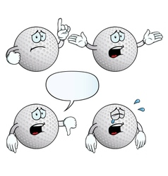 Crying golf ball set vector image vector image