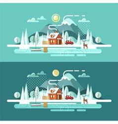 Nature winter landscape vector image