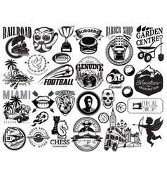 set of monochrome for design vector image vector image