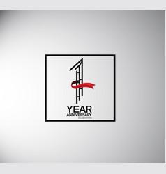 1 year anniversary logotype flat style vector