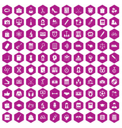 100 hi-school icons hexagon violet vector