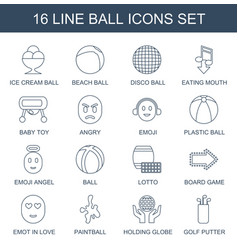 16 ball icons vector