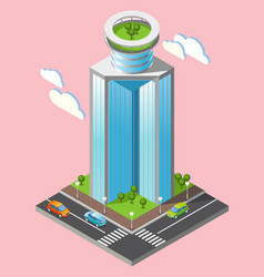 3d isometric futuristic skyscrapers background vector