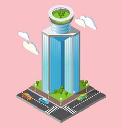 3d isometric futuristic skyscrapers background vector image