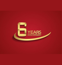 6 years anniversary logo style with swoosh golden vector