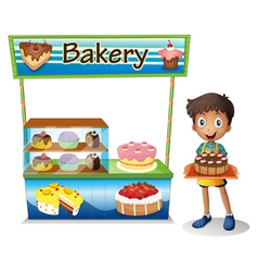 A boy selling cakes vector