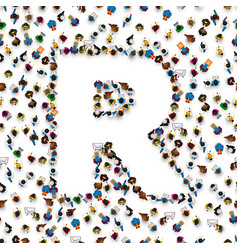 a group of people in english alphabet letter r vector image