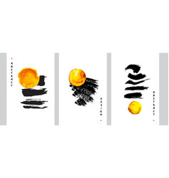 abstract art design set hand painted minimalistic vector image
