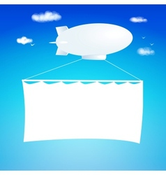 Airship cut from paper with banner vector