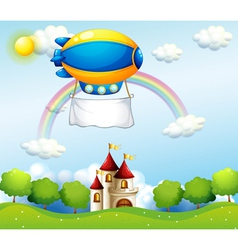 An airship with an empty banner above a castle vector image