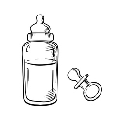 Baby bottle and pacifier sketches vector