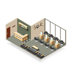 Barbershop interior isometric composition vector