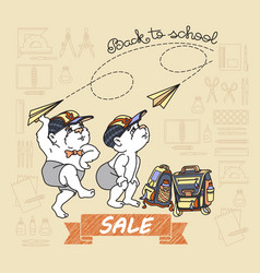 bears and paper toy plane back to school sale vector image