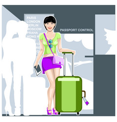 Beautiful girl tourist with a suitcase vector