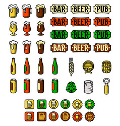 Beer icon set engraved style colour vector