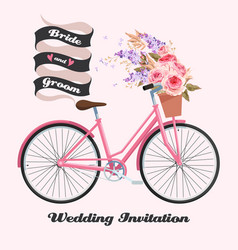 Bicycle with roses vector