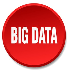 Big data red round flat isolated push button vector