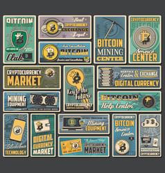 Bitcoin cryptocurrency digital money retro banners vector