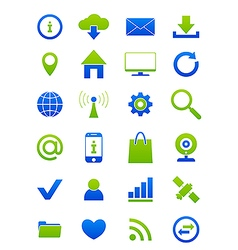 Blue green Internet icons set vector image