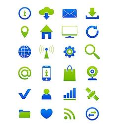 blue green internet icons set vector image