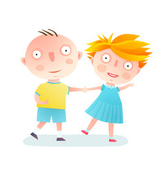 Boy and girl dancing friends vector