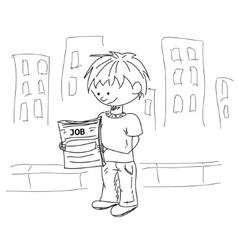 Boy look for the job sketch vector image