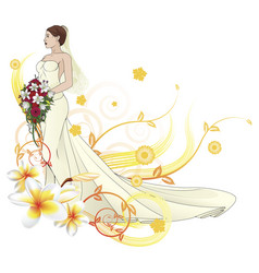 Bride beautiful wedding dress floral background vector