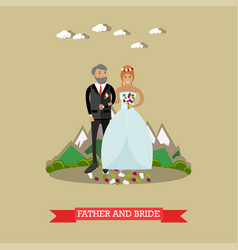 Bride with her father in vector