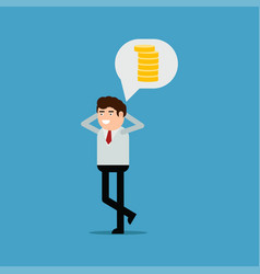 businessman thinks about money vector image
