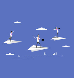 businessmen flying on paper planes vector image vector image