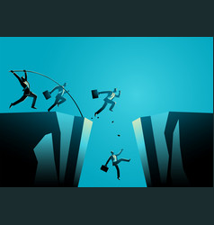 businessmen trying to jump over ravine vector image