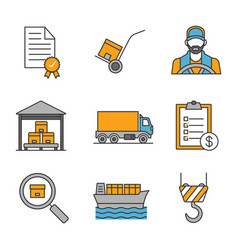 cargo shipping color icons set vector image